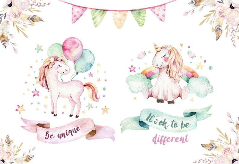 Watercolor Unicorn Clipart Instant Download Digital Rainbow Etsy Unicorn Illustration Unicorn Poster Illustration