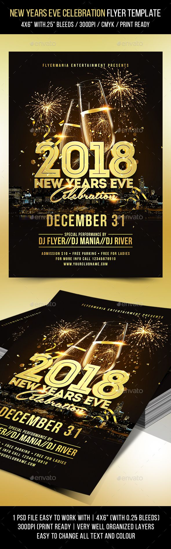 New Years Eve Celebration Flyer Template Pinterest Flyer
