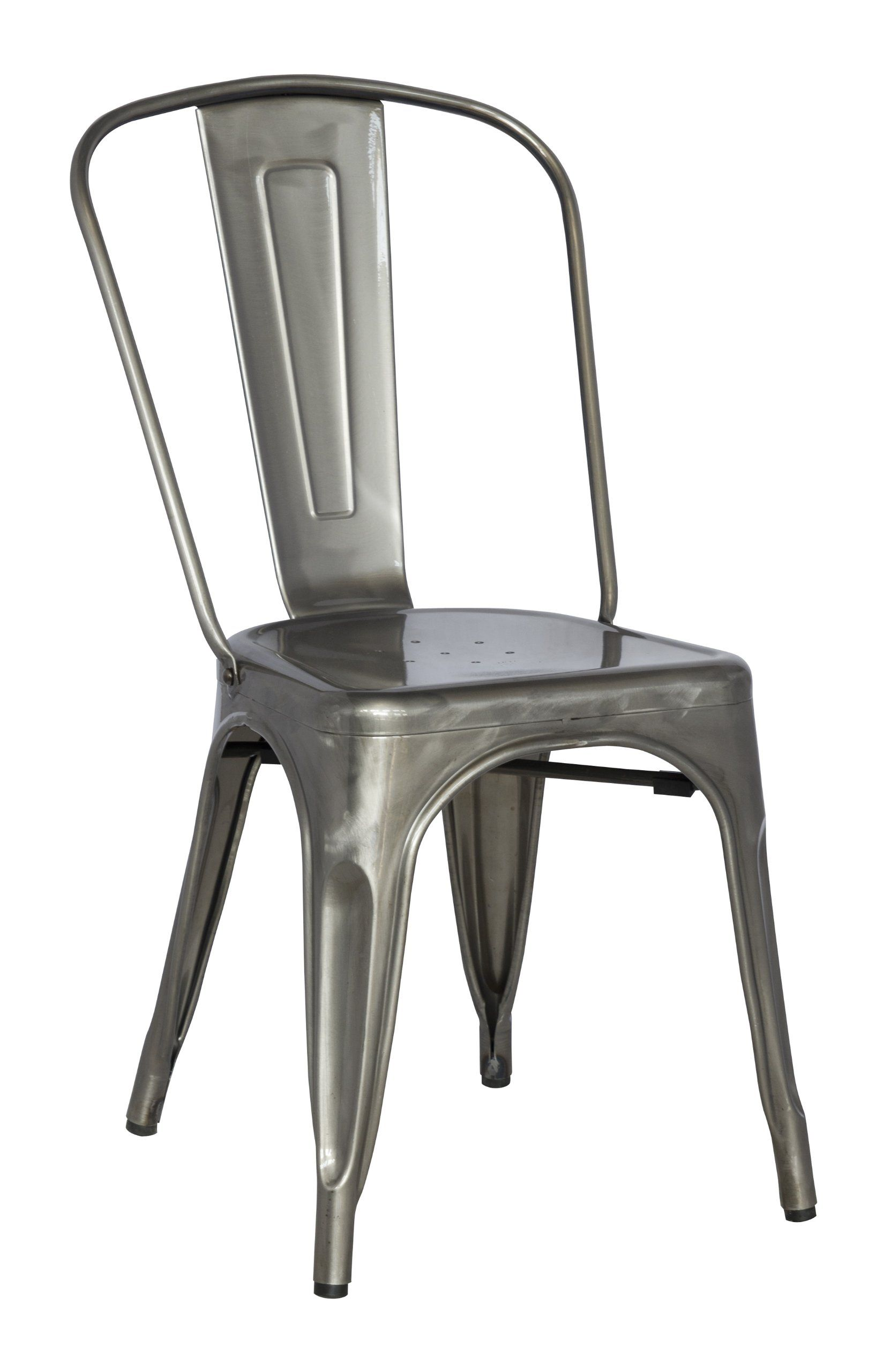 amazon com chintaly imports galvanized steel side chair with set