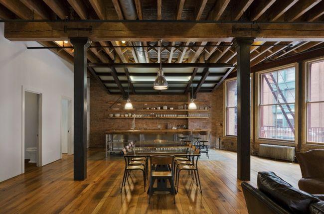 rustikale Holzbalken Decke großes Wohnzimmer Essplatz Haus innen - großes bild wohnzimmer