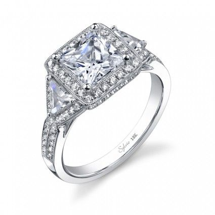 Unique Milgrain Halo Setting For Princess Diamond With
