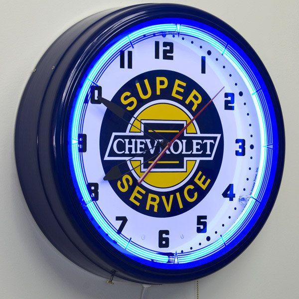 Super Chevrolet Service Gm 20 Neon Wall Clock Etsy Garage Art Retro Hot Rod Clock