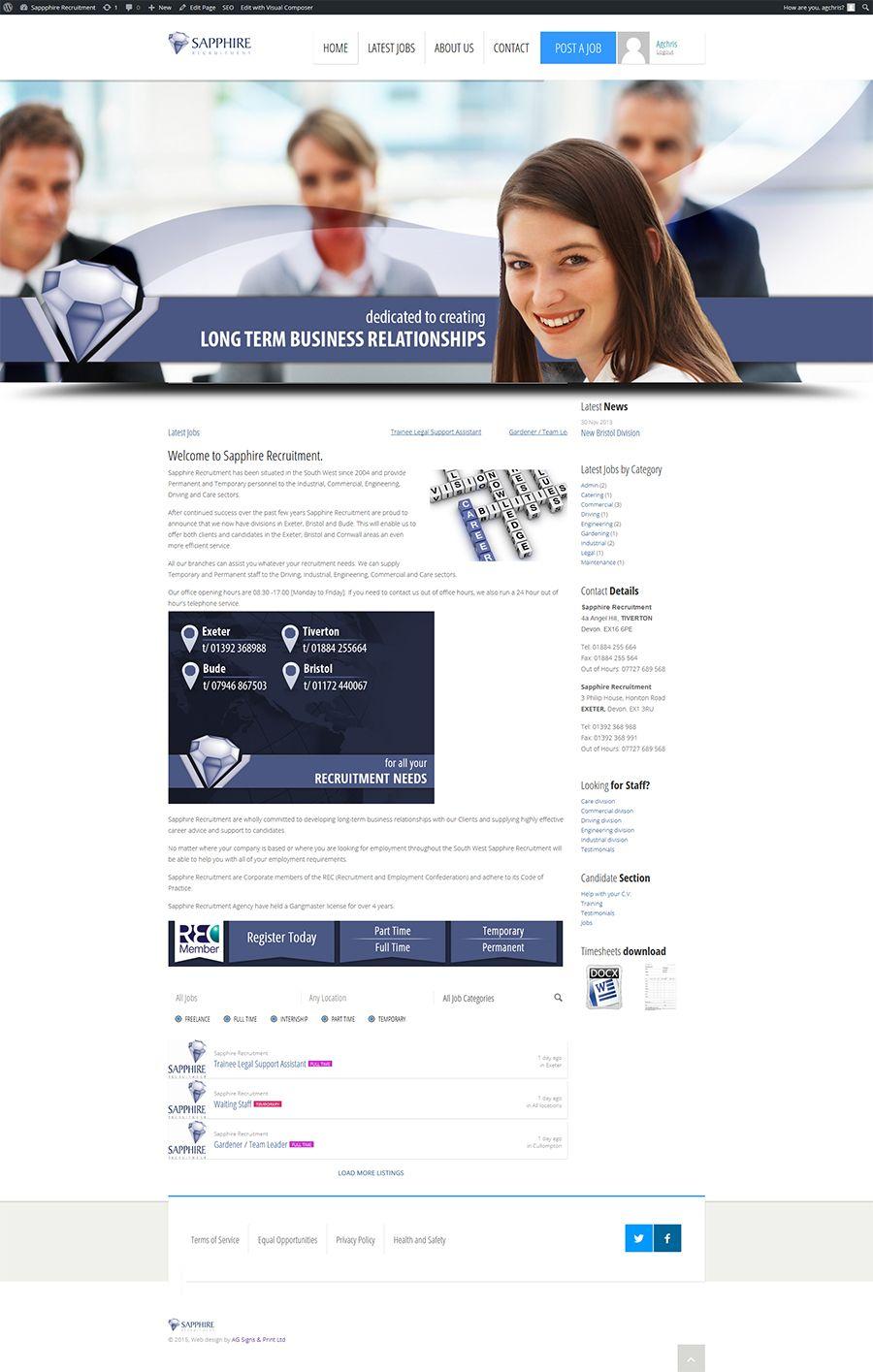 New Recruitment Cms Website For Sapphire Recruitment Portfolio Web Design Cms Website Website Design