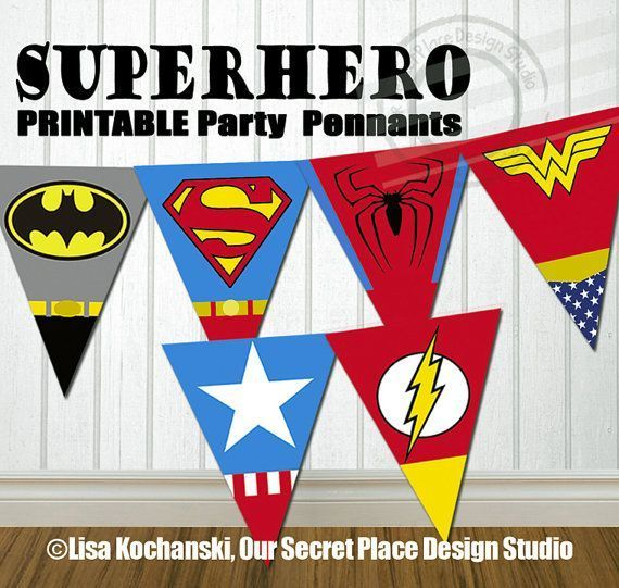 INSTANT DOWNLOAD Superhero Party Banner Super Hero Party