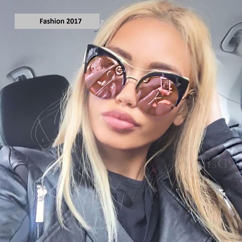 2d36fb3650 Round Oversized Stylish Women Brand Designer Pink Mirror Cateye Sunglass  Vintage