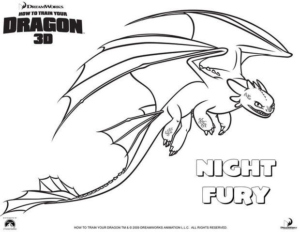 How To Train Your Dragon Coloring Pages Nightfury Dragon