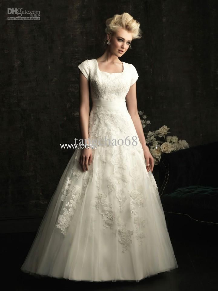 Wholesale Modest A Line Short Sleeves Square Lace Appliques Court Train Wedding Dresses Bridal Gowns, Free shipping, $160.12-179.75/Piece   DHgate