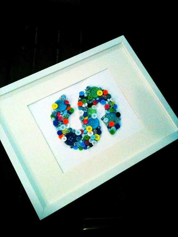 Button Monogram Letter Wall Art for baby by HelloHuckleberry,