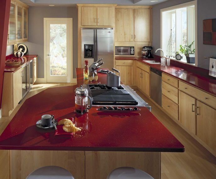 Plan de travail cuisine en Quartz rouge MAISONS Pinterest - plan de travail cuisine rouge