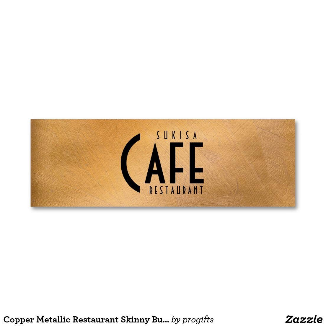 copper metallic restaurant skinny business card   copper