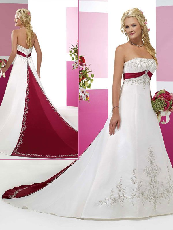 Satin sleeveless bridal gown. This would be sweet with silk plaid ...
