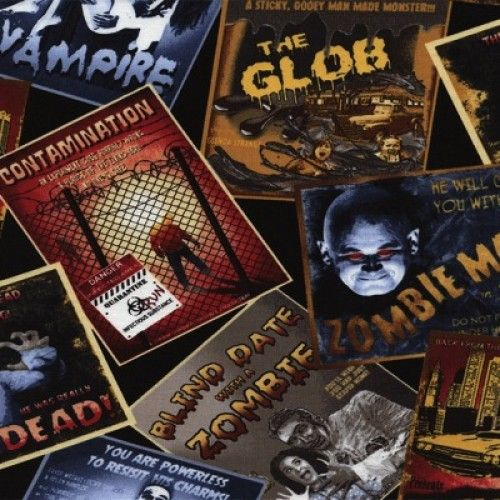 Timeless Treasures Zombie Movie Fabric Poster Cotton