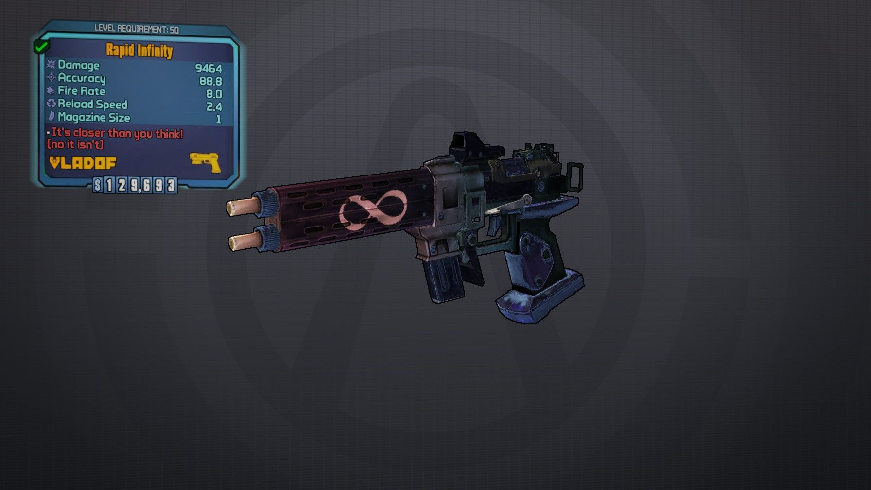Infinity- Legendary pistol | Borderlands 2 | Borderlands
