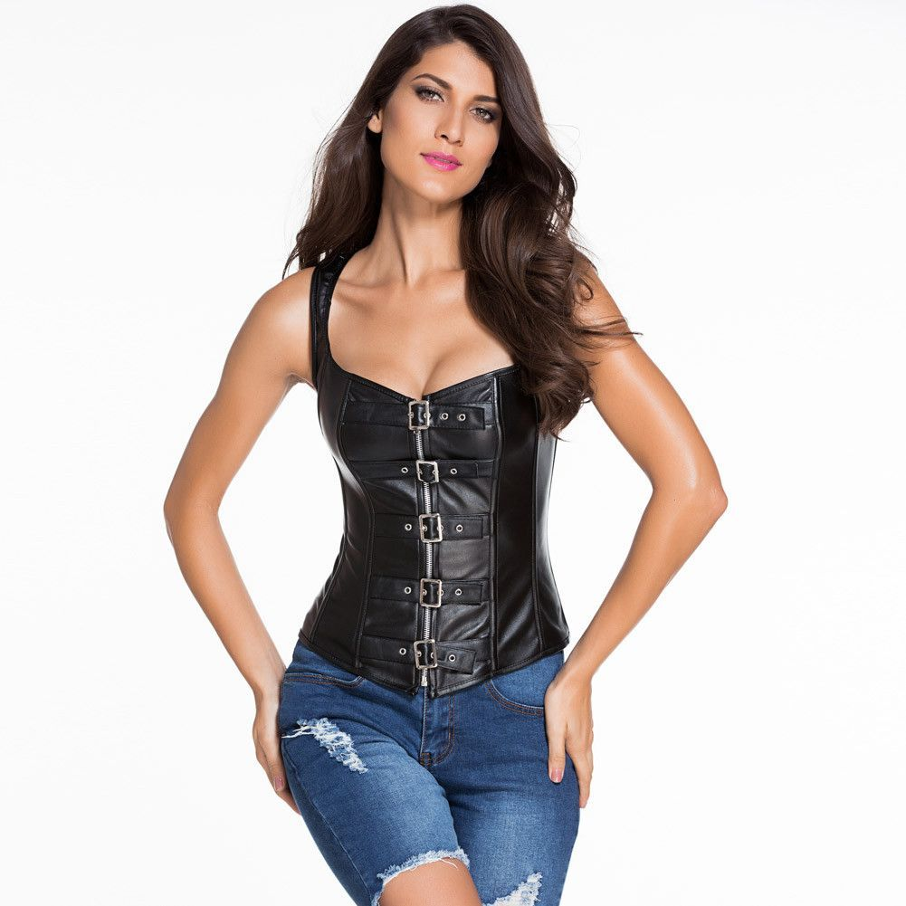 cdf77964509  D5409 10 Steel Bone Reinforce Lace Up Leather Corset with Thong –  GirlyPlaces