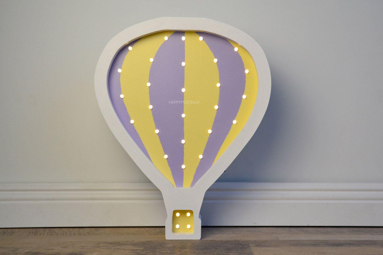 Wooden Hot Air Balloon Night Light / HandMade / Wall decor / Battery ...