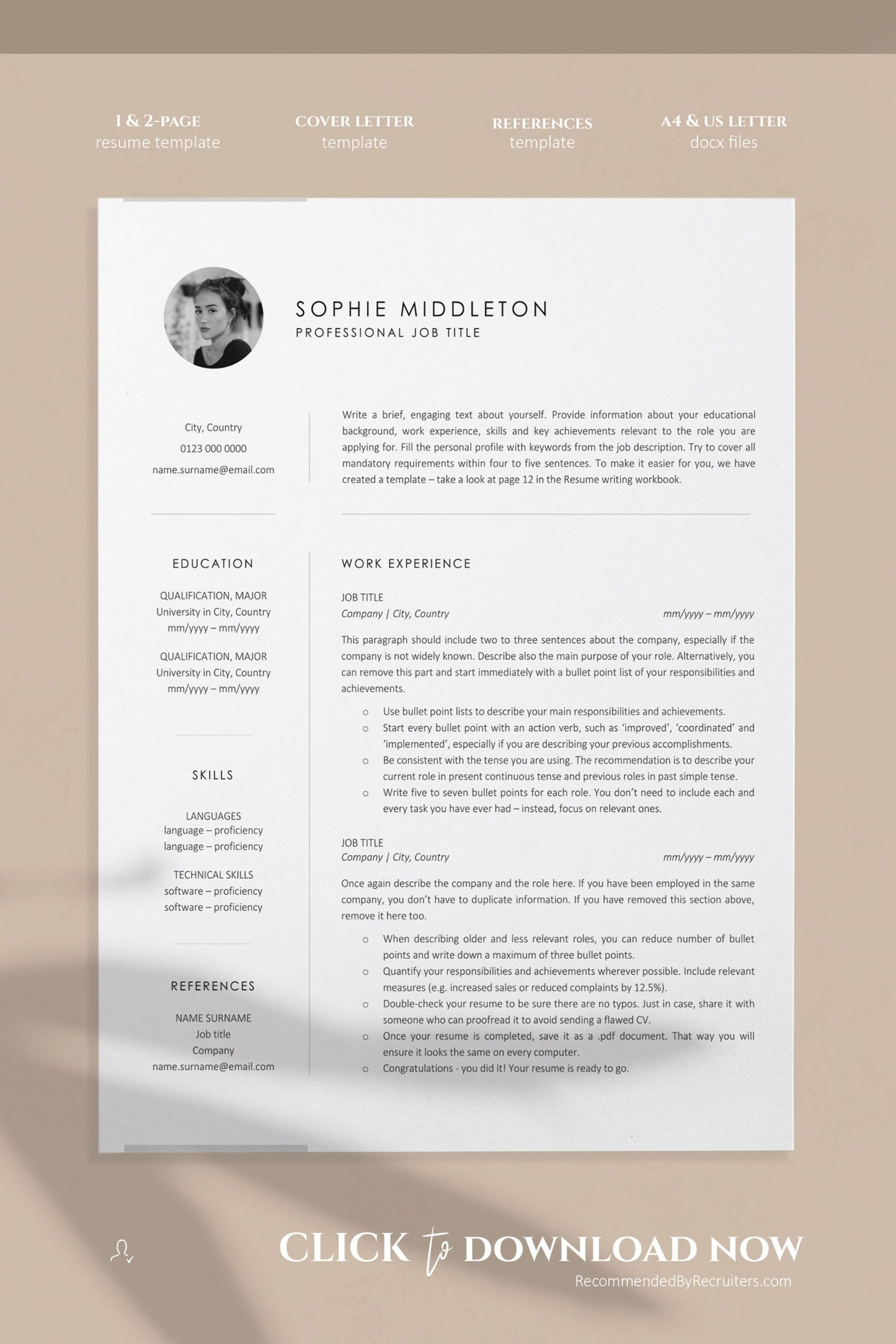 Resume Template With Photo Instant Download Resume