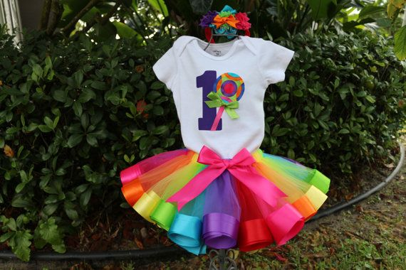 189c4e18 Baby Girl 1st Birthday Outfit, loolipop, sweet shoppe, rainbow ribbon trim  tutu by OneLovelyLittleLady