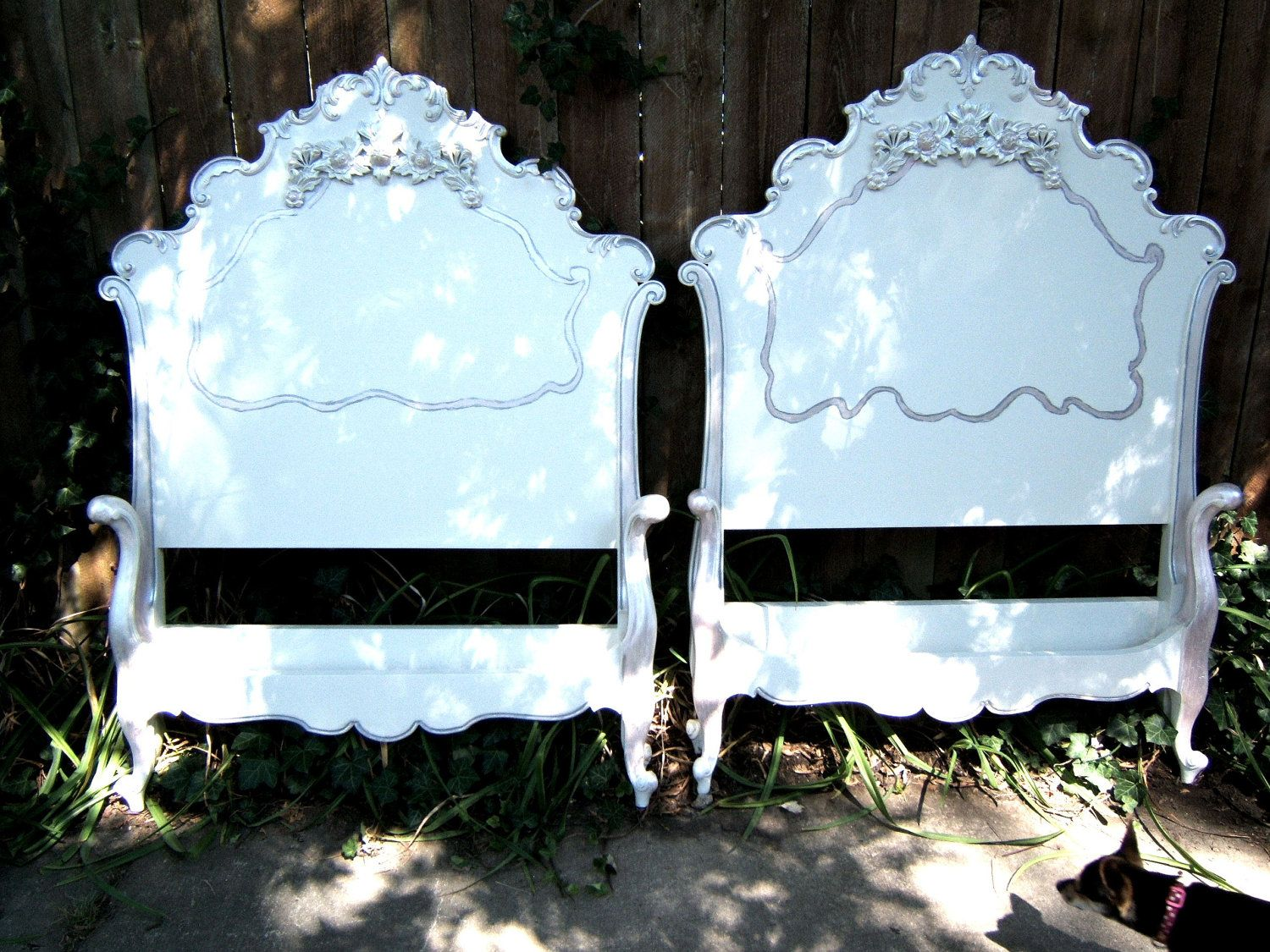 shabby rose antique french twin beds headboard footboard original side rails sale reserved for. Black Bedroom Furniture Sets. Home Design Ideas