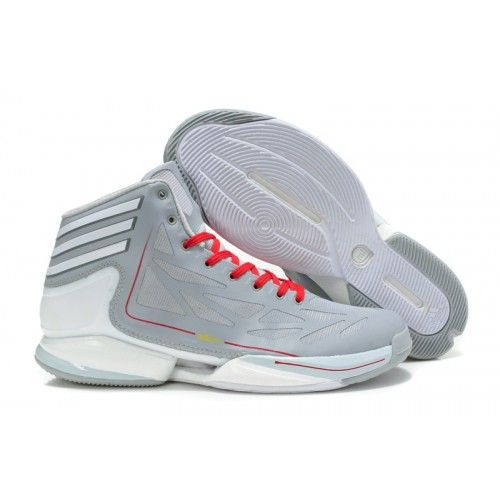 hot sale online 20603 f5dfb Adidas AdiZero Crazy Light Rose 2.0 - Grey White Red - Mens Basketball Shoes  size 8