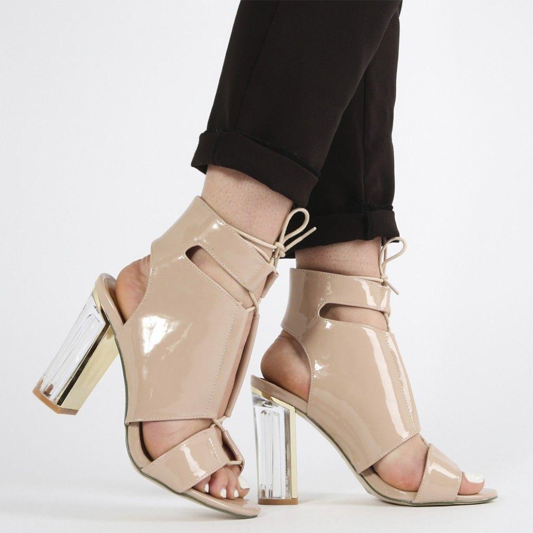 Zela Lace Up Perspex Heels in Grey Patent