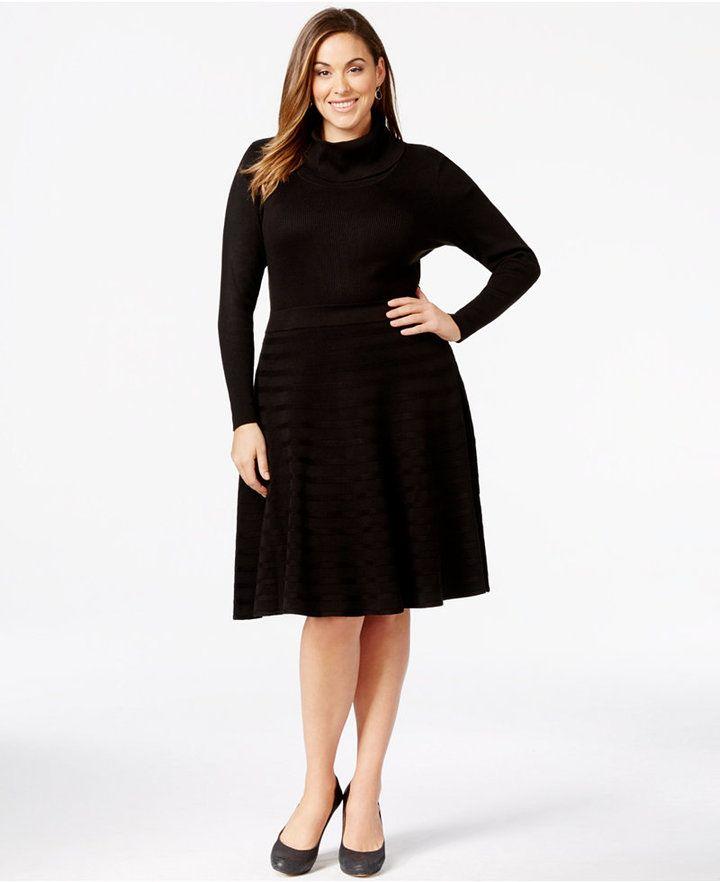 Plus Size Turtleneck Sweater Dress #plussizefashion | Trendy Plus ...