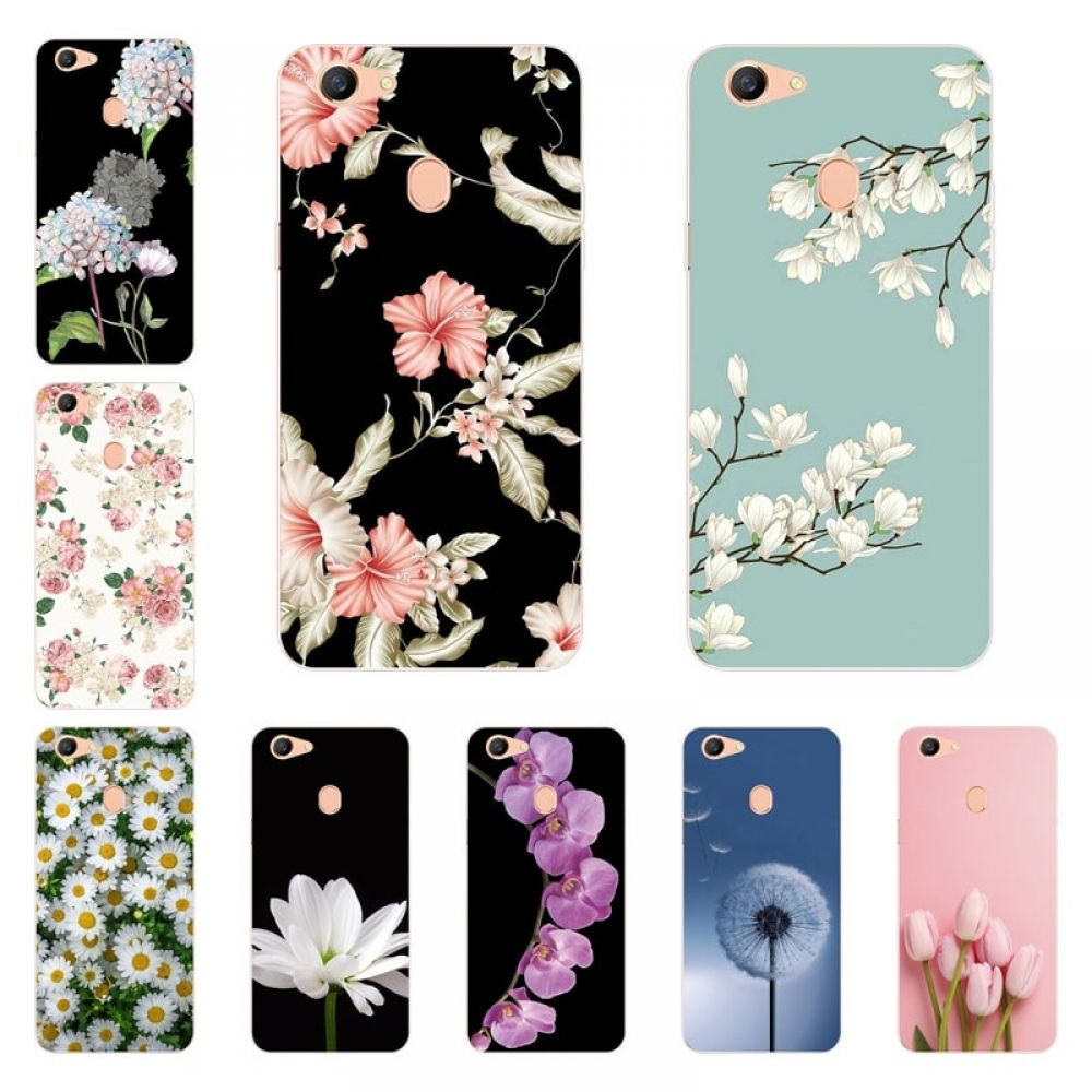 For Oppo F5 Case Silicon Bloom Flowers Painting Soft TPU