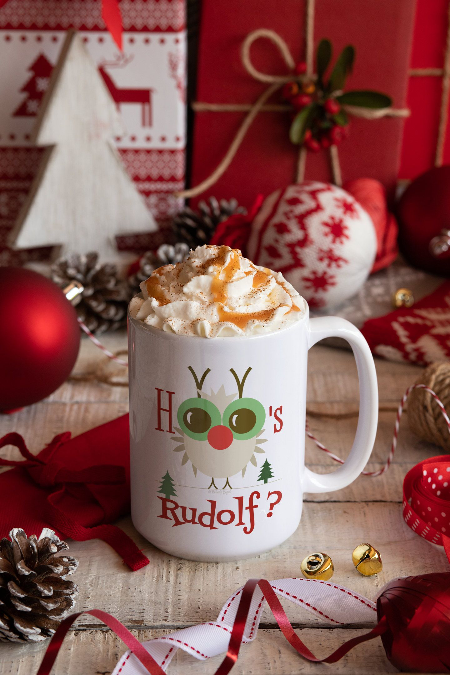 Christmas Mug Rudolf The Red Nosed Owl Funny Mugs Xmas Party Gifts Cute Cups Ideas Decorations For Parties Kitchen Decor Holder Tea Cup Gifts Funny Coffee Cups Mugs
