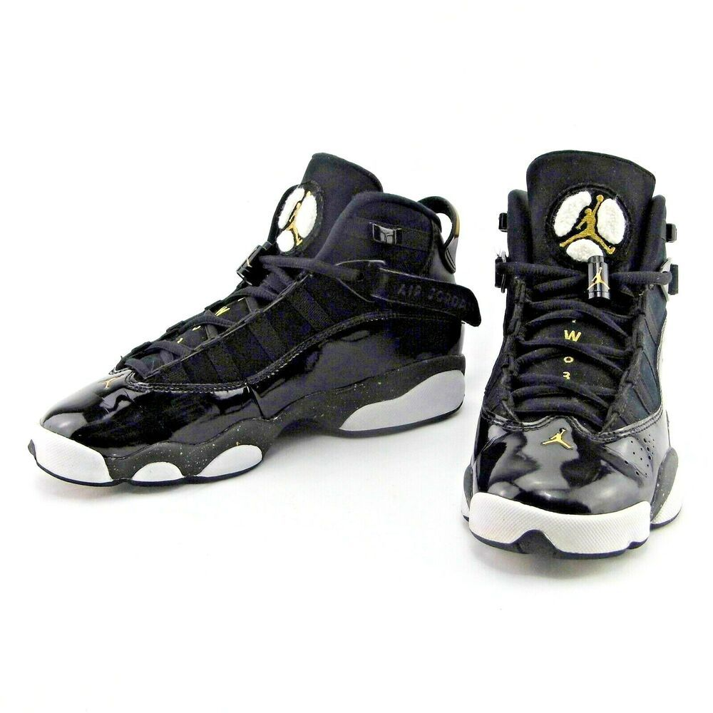 831445c1f954f6 Nike Air Jordan 6 Rings Black Gold Basketball Sneakers  323419-007 Youth Sz