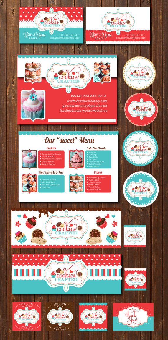 Cookies & Cupcakes branding marketing set - logo, flyer, business ...