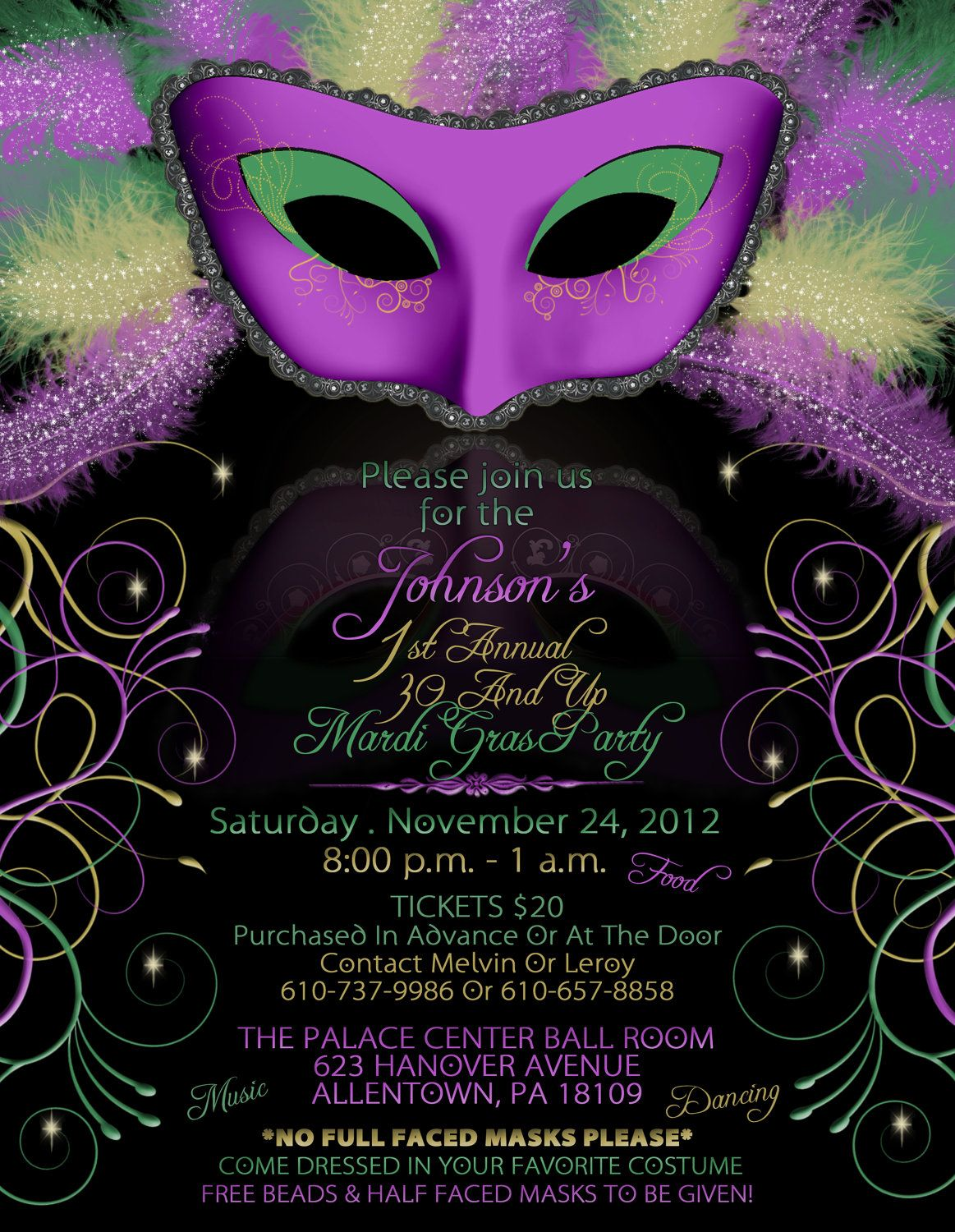 mardi gras birthday party invitations | mardi gra | pinterest, Party invitations