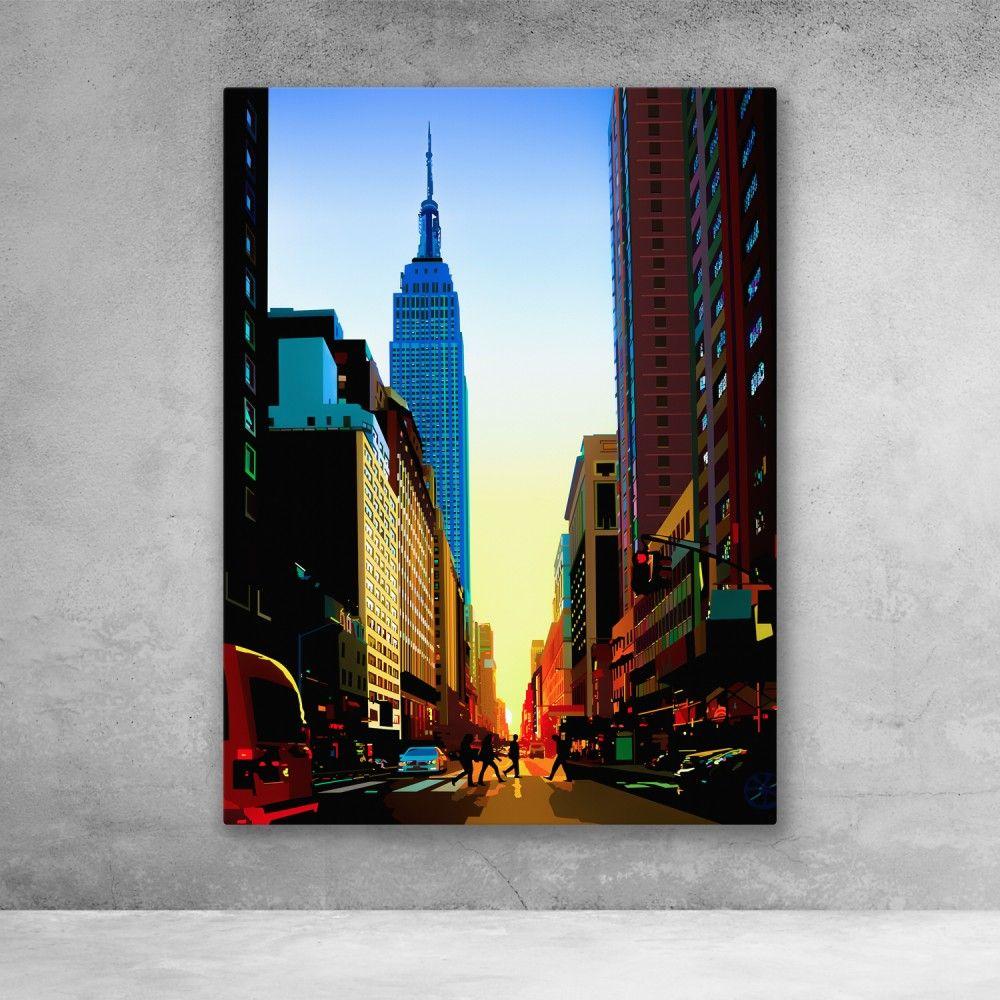 Manhattan Solstice Nyc Art Deco Pop Modern Canvas Wall Art Modern Wall Art Canvas Nyc Art Empire State Building Art