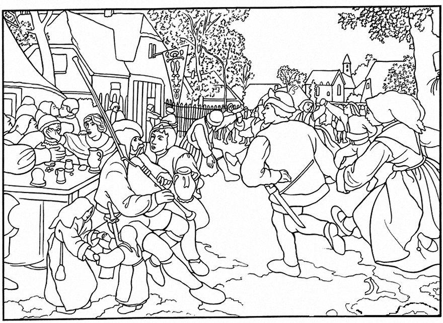 Pieter brueghel la kermesse obras de arte pinterest coloriage peinture et art - Kermesse dessin ...