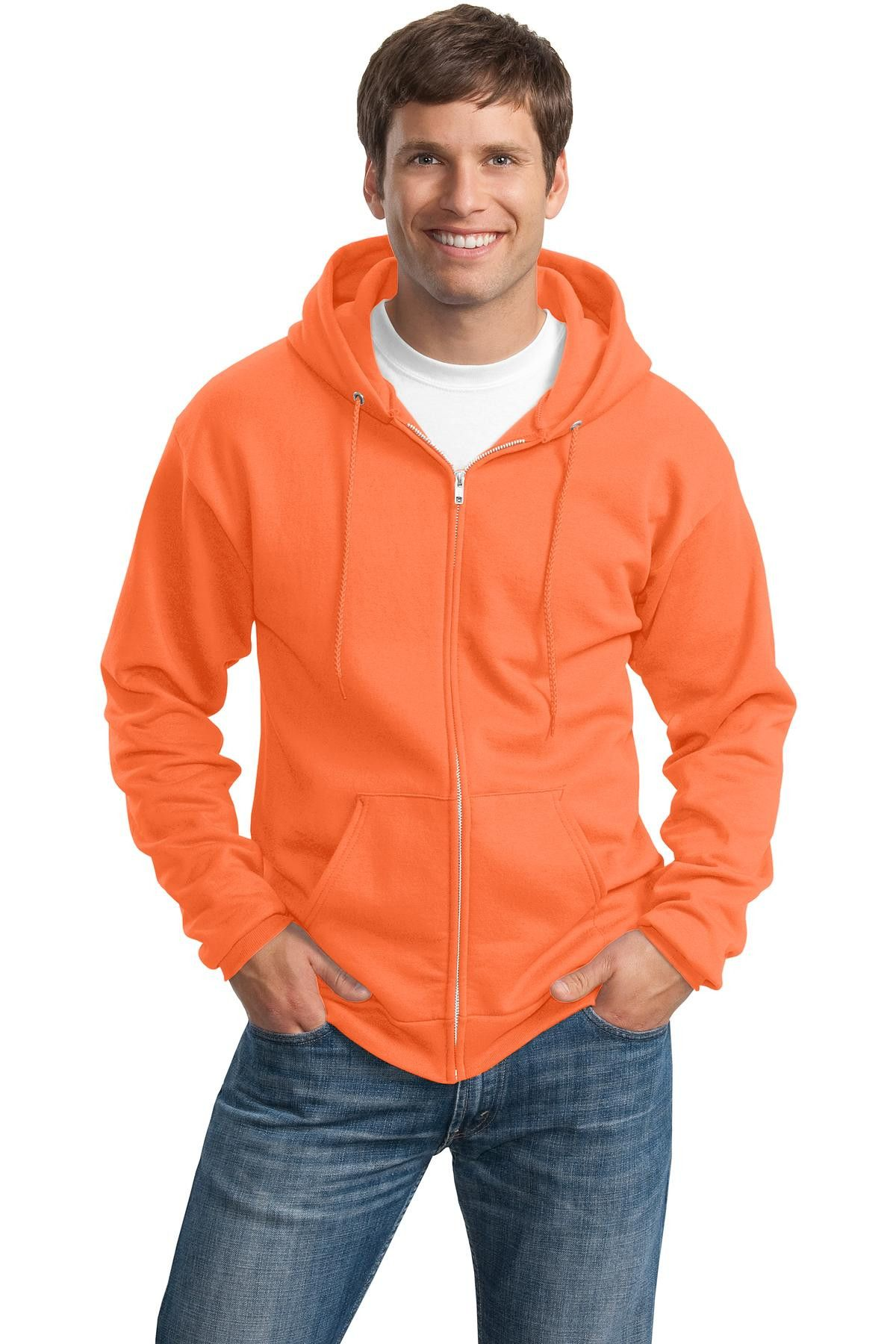 Port & Company - Classic Full-Zip Hooded Sweatshirt PC78ZH Neon Orange