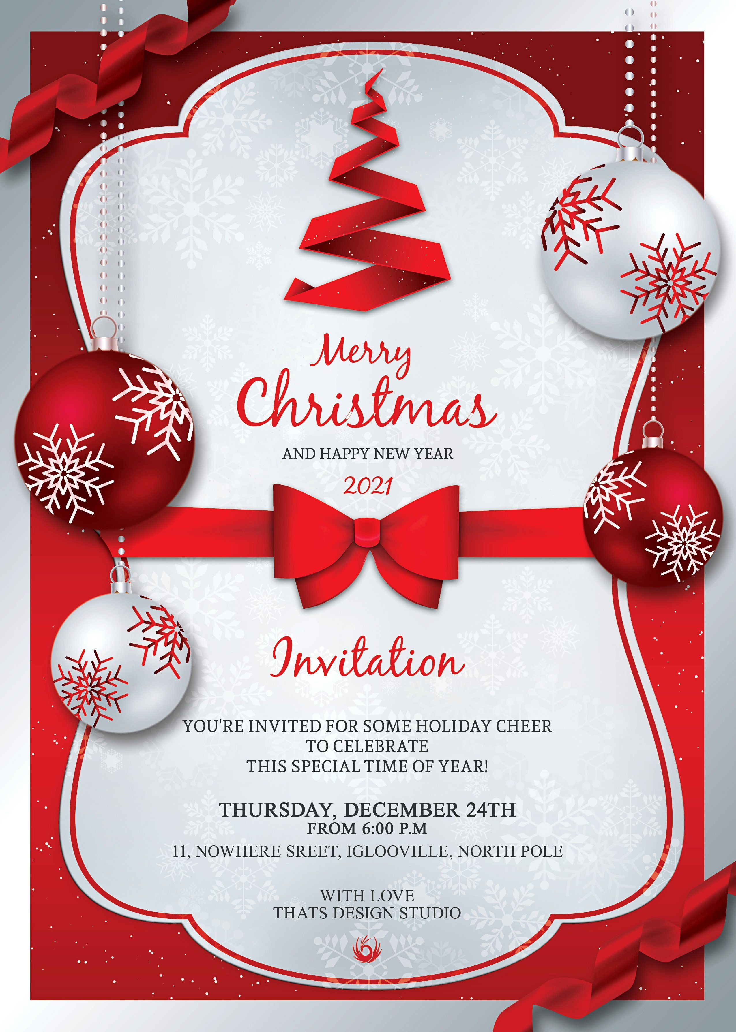 Christmas Invitation Template V4 33976 Card And Invites Design Bundles In 2021 Christmas Party Invitation Template Christmas Invitations Template Free Christmas Invitation Templates