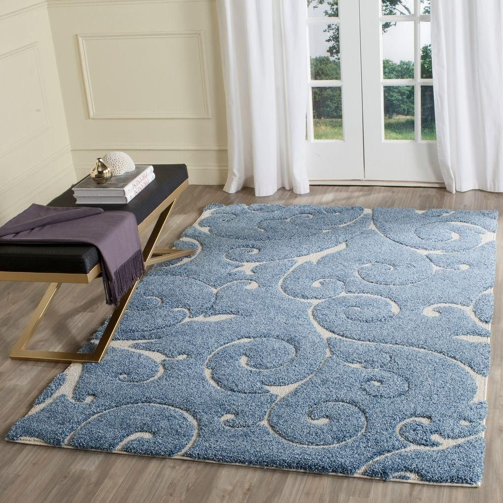 Safavieh Florida Shag Light Blue Cream 4 Ft X 6 Ft Area Rug