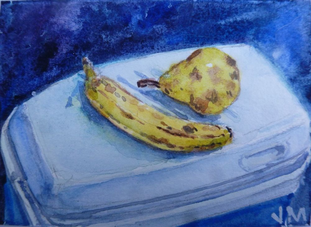 Ripe fruit for lunch ACEO Card Original artwork in Watercolor ACEO  #Realism