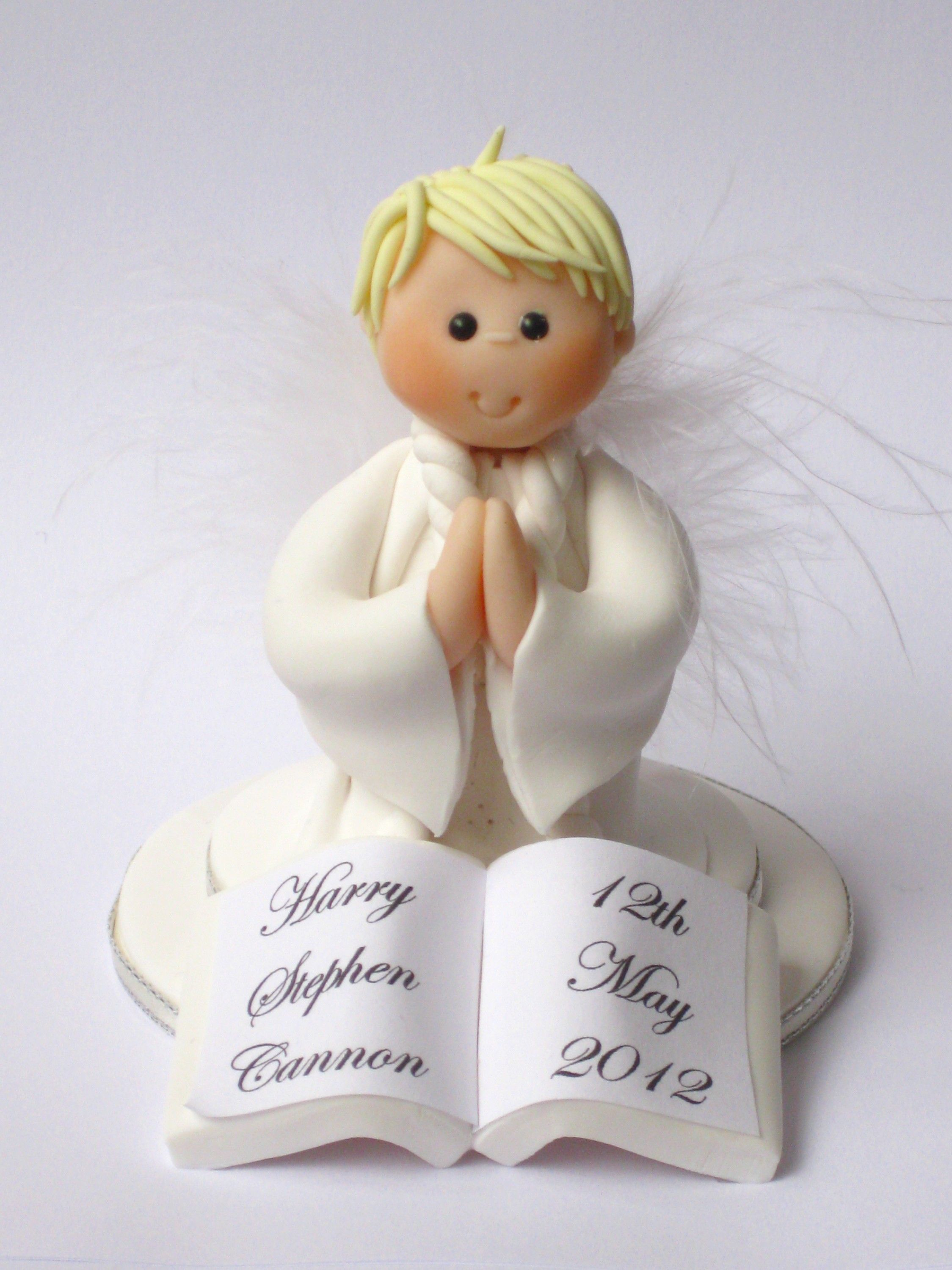 FIRST HOLY PRAYING BOY WITH BIBLE CAKE TOPPER ORNAMENT GIFT