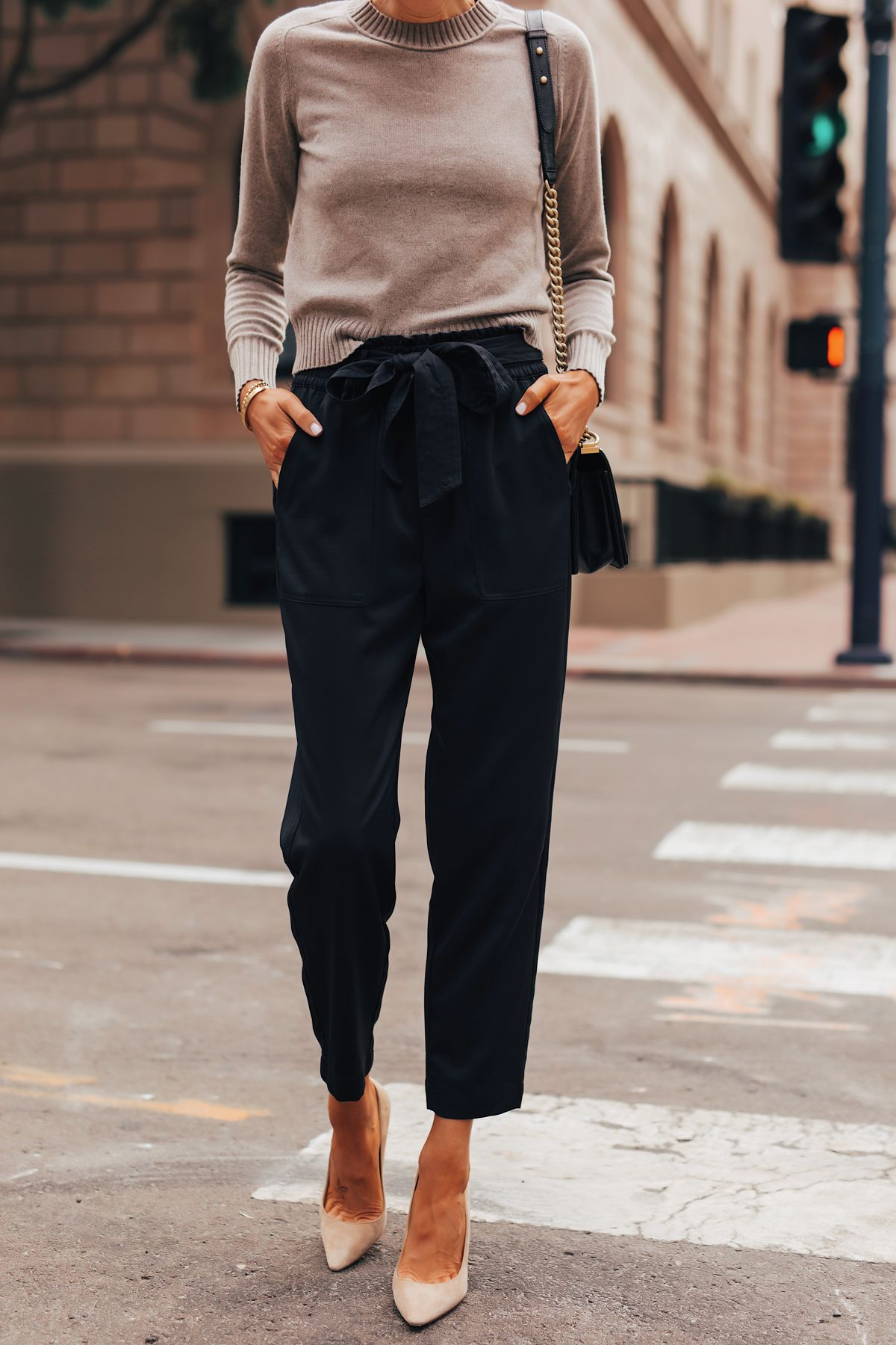 Fashion Jackson Wearing Everlane Taupe Cashmere Sweater Black Tie Waist Pants Nude Pumps #womensfashion