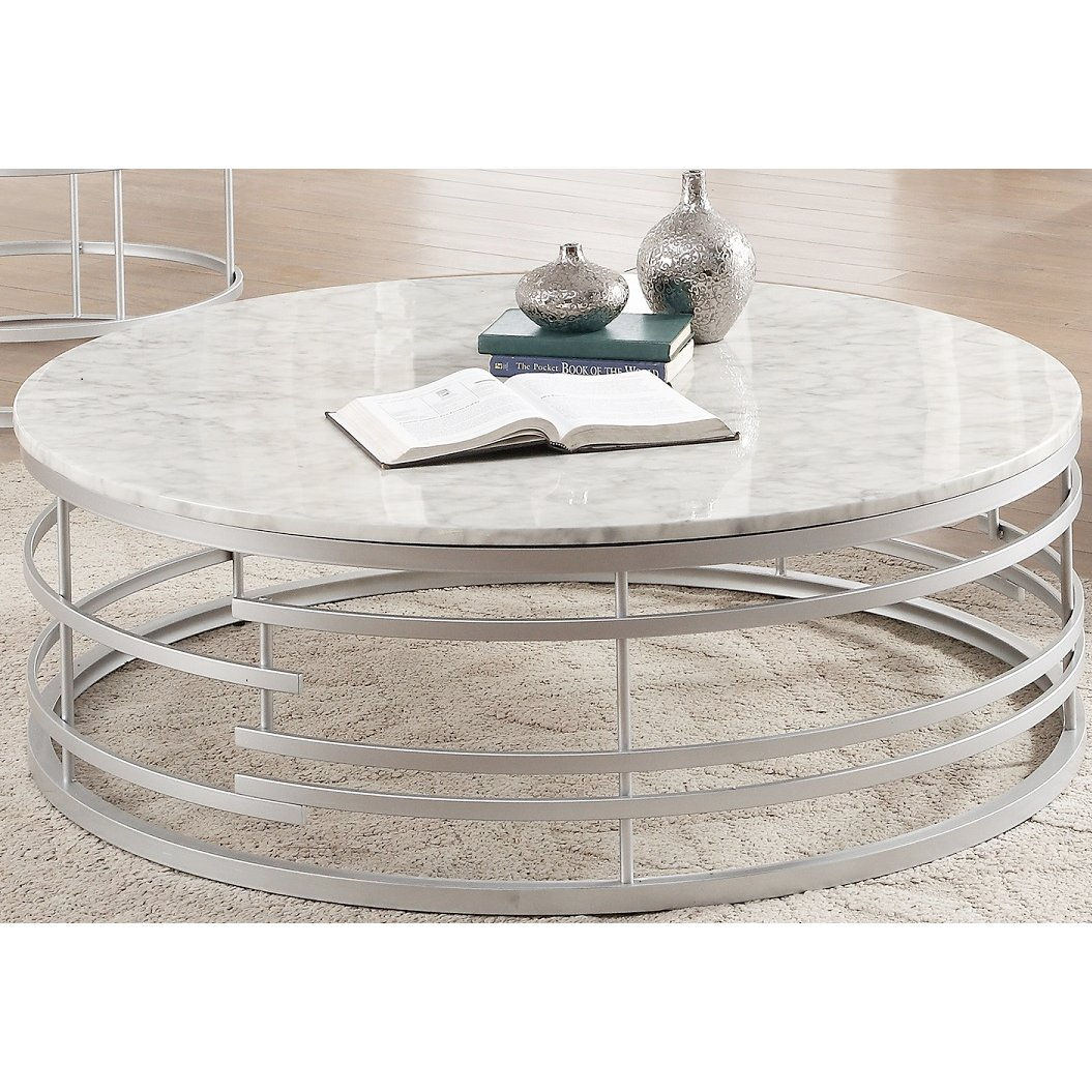 Round Marble And Silver Large Coffee Table Brassica Large