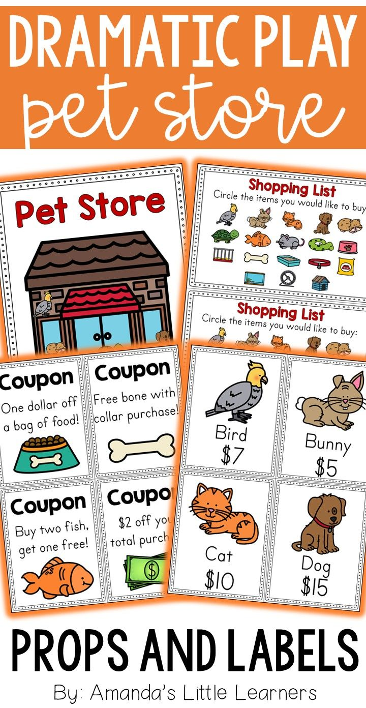 Pet Store Dramatic Play Printables For Young Students To Learn Through Dramatic Play Includes Labels Props Dramatic Play Printables Pets Preschool Pet Store