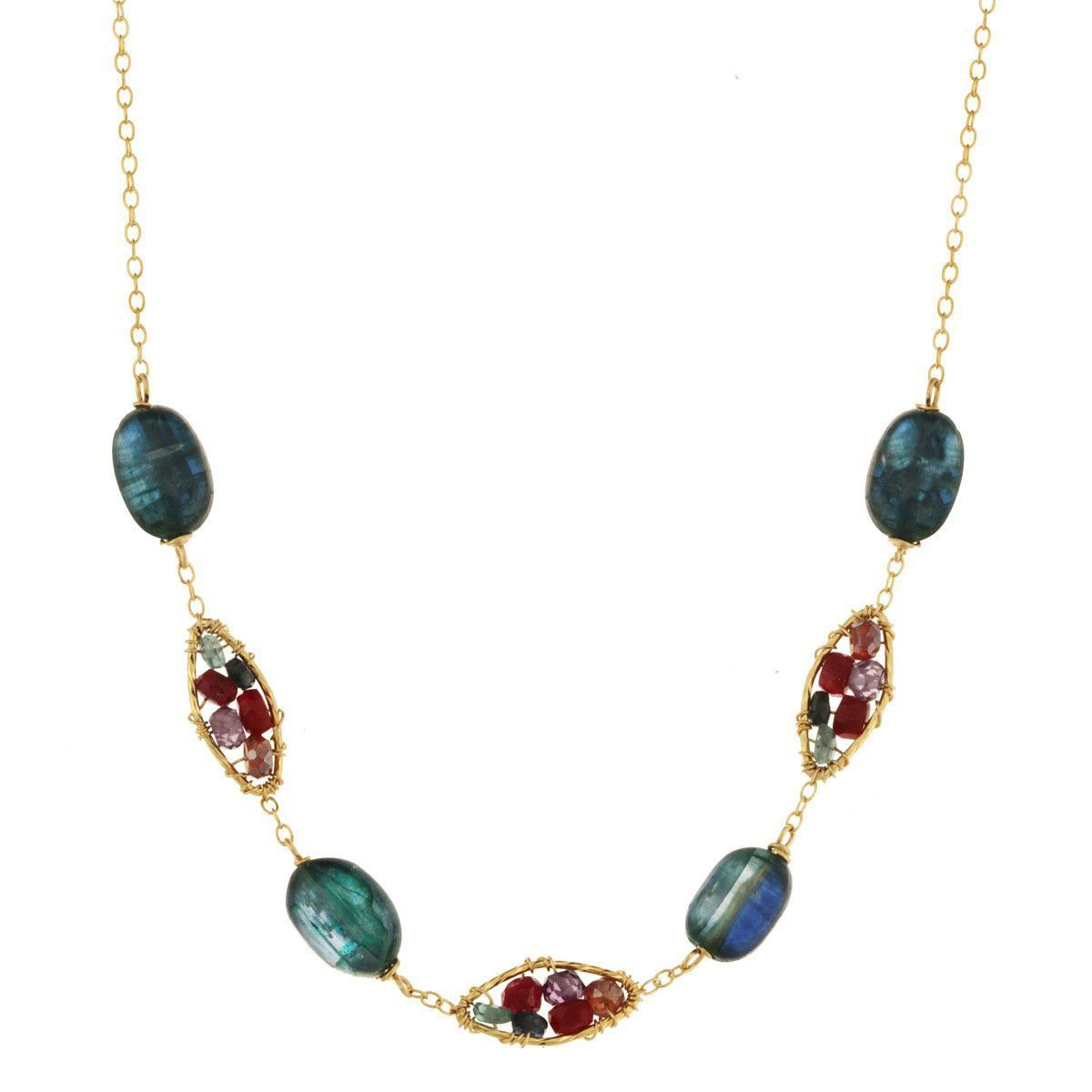 Labradorite and Ruby Necklace 2844 by Michelle Pressler
