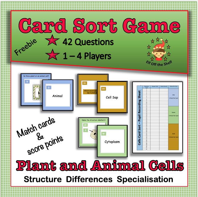Plant and Animal Cells - 42 Question Card Sort Team Game ...