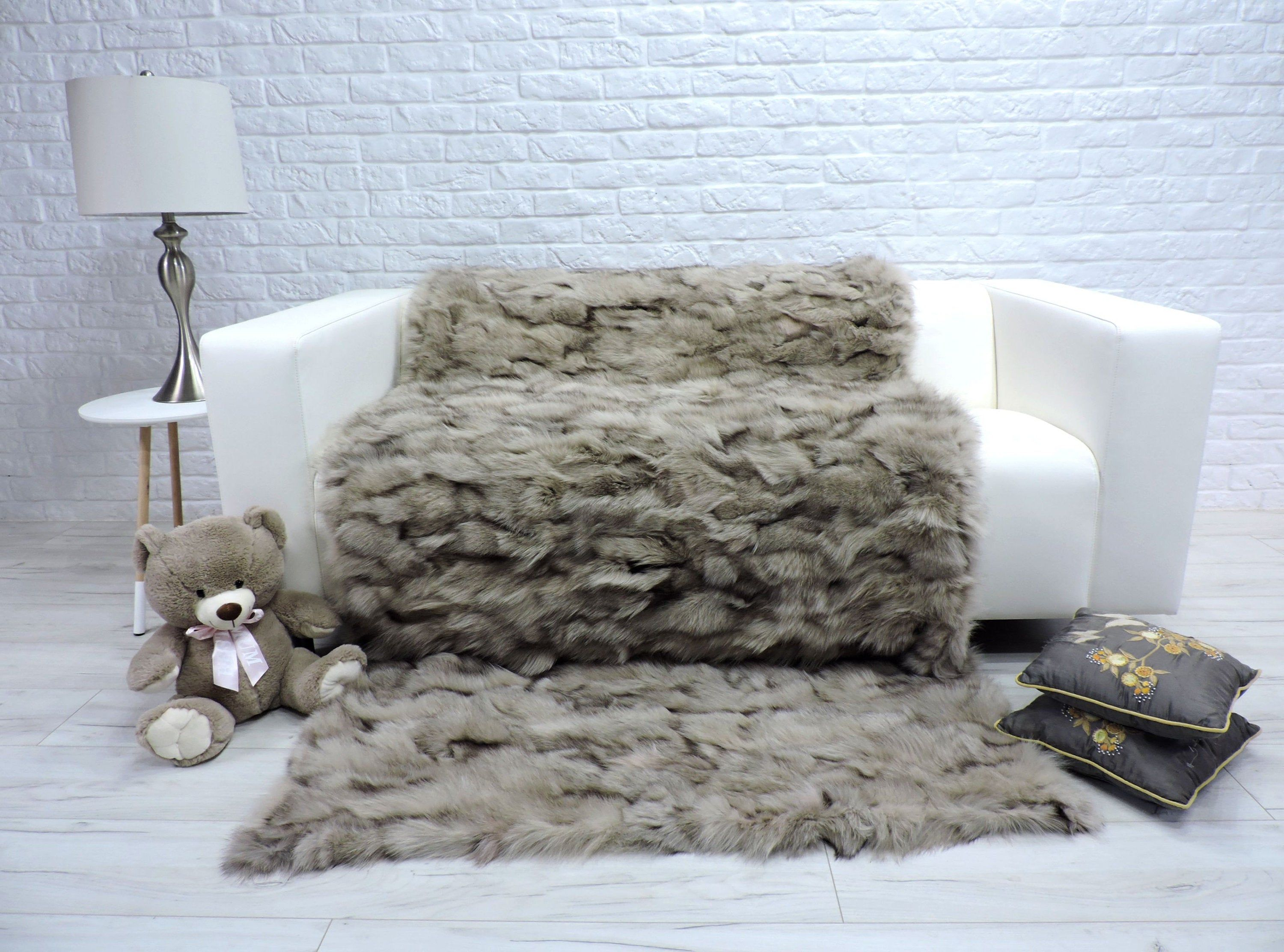 Luxury Real Blue Frost Fox Fur Blanket Fur Throw Sofa Throw Sofa