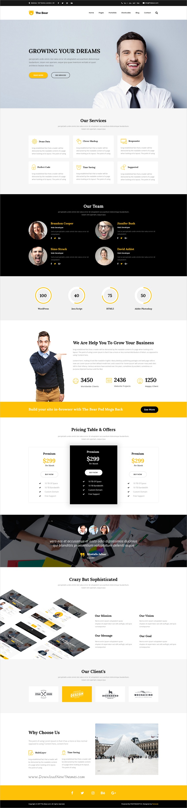 The bear one page psd business template pinterest business the bear is a clean and trendy photoshop template for multipurpose onepage business website with 6 homepage layouts download now wajeb Choice Image