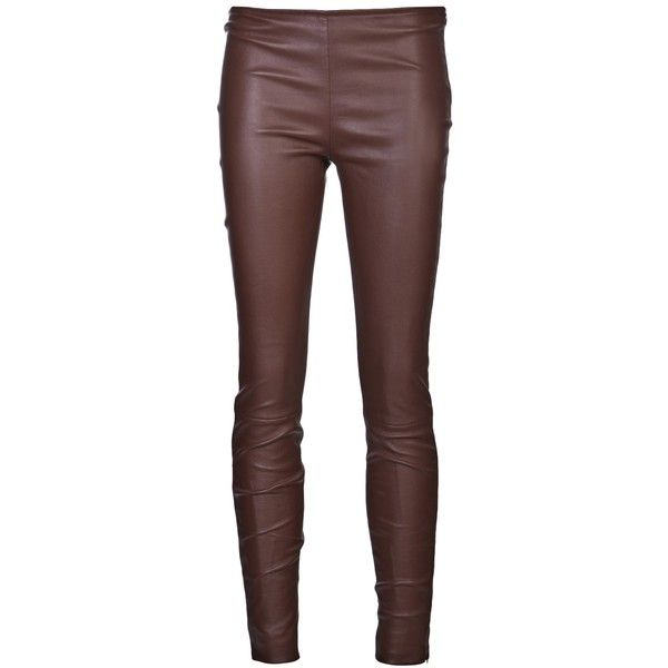 The Row 'Notterly' legging (€680) ❤ liked on Polyvore featuring pants, leggings, trousers, bottoms, brown, leather leggings, genuine leather pants, leather trousers, brown leggings and real leather pants