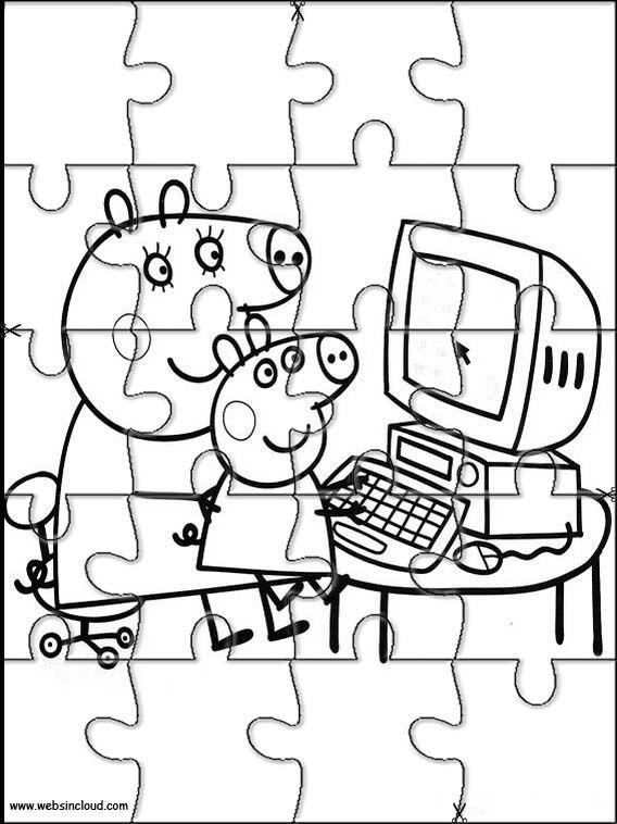 Puzzles. Quebra-cabeças para impressão para crianças Peppa