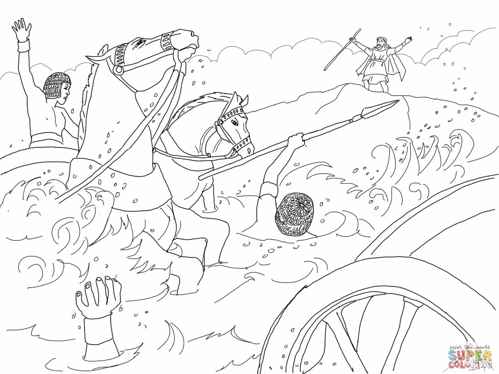 moses red sea coloring pages - photo#32
