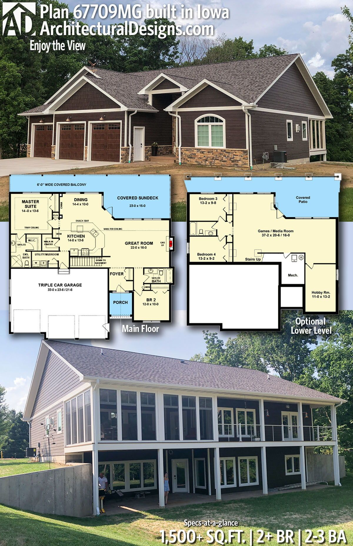 Architectural designs home plan mg comes to life in iowa this gives you also best homes for the sloping lot images architecture rh pinterest