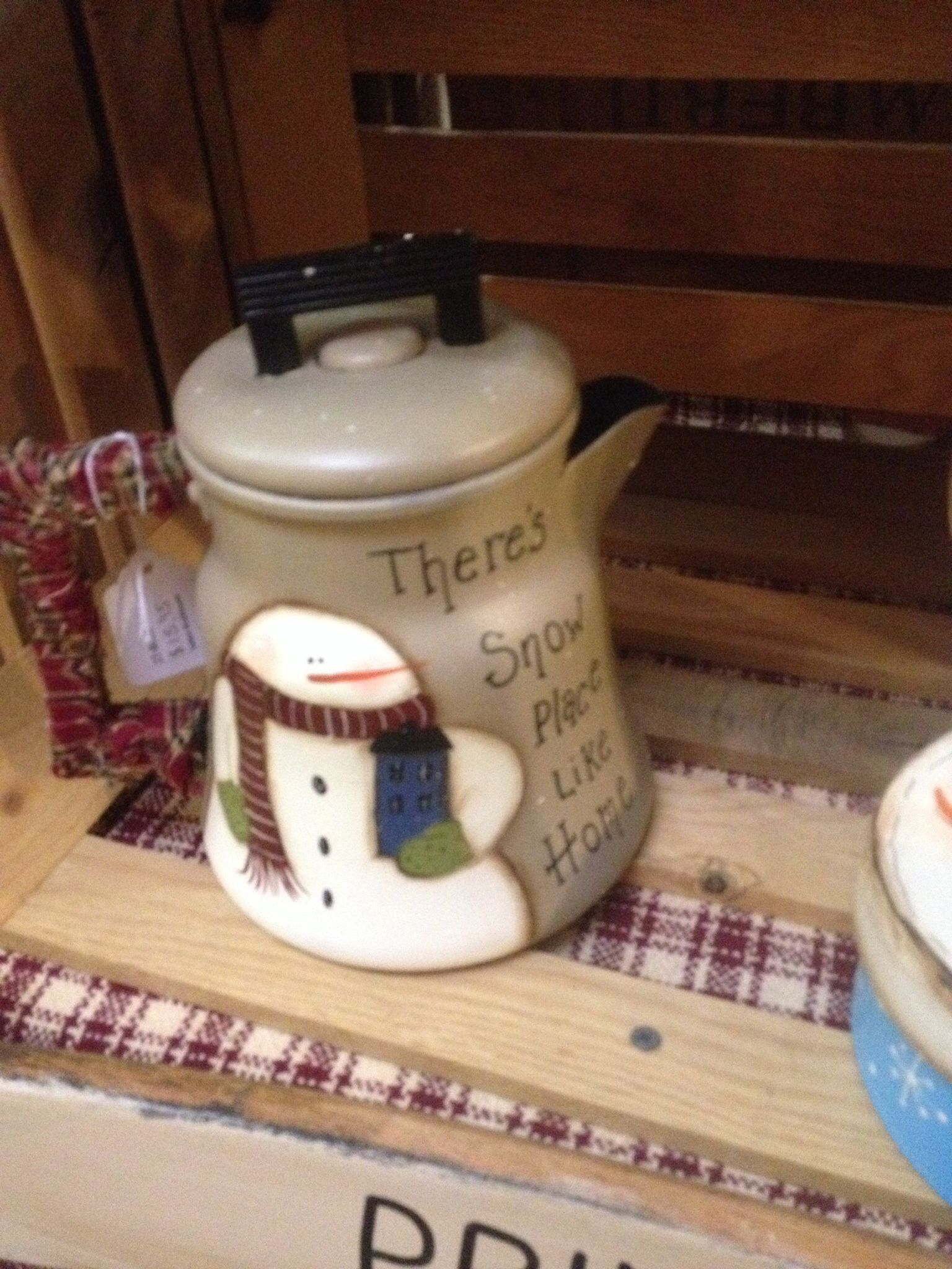 Snow place like home teapot painted by Sharren