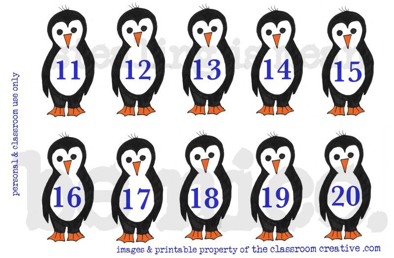 FREE Printable! Counting Penguins Math Center: Ordering